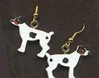 Handpainted Lightweight Wood JACK RUSSELL TERRIER Tri-color Standing Dangle Dog Breed Earrings