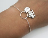 Adjustable Personalized Elephant Bracelet in Sterling Silver - Textured Circle, Initial and Elephant Bracelet