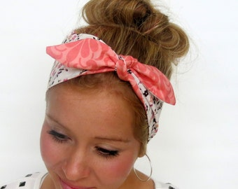 Head Scarf, Vintage Inspired Floral/Pink Double Sided Reversible 50s Pinup Hair Accessory Rockabilly Headband