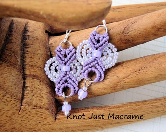 Smaller Lilac Colored Beaded Macrame Earrings MicroMacrame Purple  Lavendar