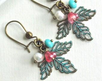 Filigree Leaf  Earrings - Patina, Czech Glass,  Leaf Jewelry