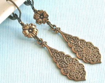 Brass Drop Earrings - Embossed, Flower Earrings