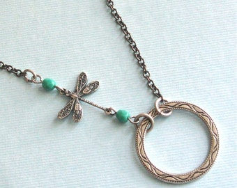 Silver Circle Dragonfly Necklace - Turquoise Necklace, Dragonfly Jewelry, Nature Jewelry, Silver Jewelry, Bridesmaid Necklace