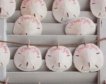 Sweet Hand-calligraphed SAND DOLLARS for wedding or party seating and favors