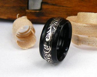 Bentwood Mens Ring Ebony with Floral and Vine Patterned Sterling Silver inlay
