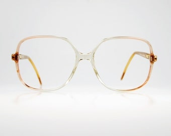 Italian Spring Trend Oversize Square Sun/eyeglasses 1980s Clear Pink Rose Fade Ombre Luxotica Optical Frame 55/15