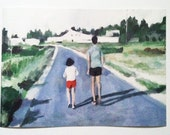 Nature Trail - art paper print -children -memory -retro - summer -grass -sky - ART PRINT -wall hanging Art Poster Illustration   size A3