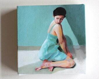 Rimma / Tiny canvas print / -Print of Original acrylic painting-Digital print -mounted print - wall hanging