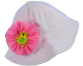 Sun Hat for Baby Girl with Tulle Flower and Birdie by Funny Girl Designs