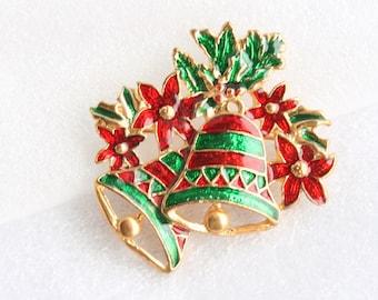 Christmas Poinsettia Bells Brooch Holly Figural Red Green Enamel Pin