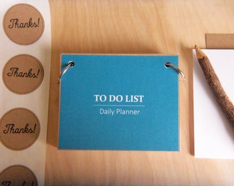PERSONALIZED-Refillable To-Do List Daily Planner Binder with Quotes 100 Cards-Slate Blue