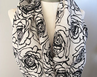 Infinity Scarf, Tube Scarf, Silk Scarf, Black and Ivory Rose Print