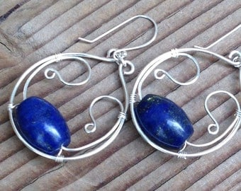 Dark Blue Lapis Lazuli Beads with Handcrafted Wire Work Hoop Dangle Earrings, Free Shipping