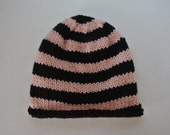 Pink and Black Stripped Baby Beanie