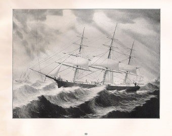 Old Print of the Sailing Ship Mary, built in 1854