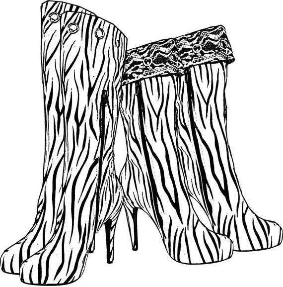 Zebra boots high heel shoe coloring page download printable fashion colouring pages  clipart png clip art digital stamp digi stamp