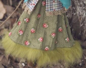 jiajiadoll - green flower fur long dress fits momoko or Misaki or Blythe