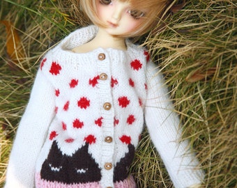 jiajiadoll-hand knitting- red kitty and dots party III fits slim MSD SD unoa 1/4 1/3 bjd slim Minifee Bluefairy