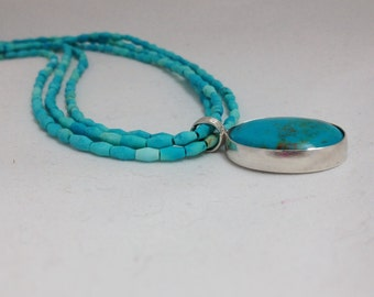 Matte Turquoise Necklace with Turquoise Pendant in Sterling Silver