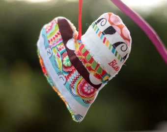 Valentine heart ornament, quilted heart, patchwork heart