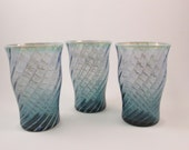 Vintage Fostoria Blue Drinking Glasses Set of Three Hand Blown Glass Tumblers Swirl Design Glass