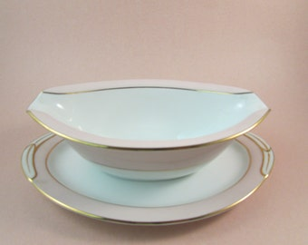 Vintage Noritake Gravy Boat with Attached Underplate Pink Royal 5527
