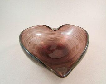 Vintage Murano Heart Shaped Art Glass Bowl Purple Glass and Metallic Purple Pattern