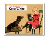 Personalized Bookplates - Vintage Dachshund & Little Girl in Schoolhouse  - Gift for Teacher