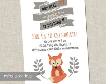 Fox Birthday Party Invitations - Little Woodland Birthday Party Invites - vintage first baby birthday (Printable Digital File)