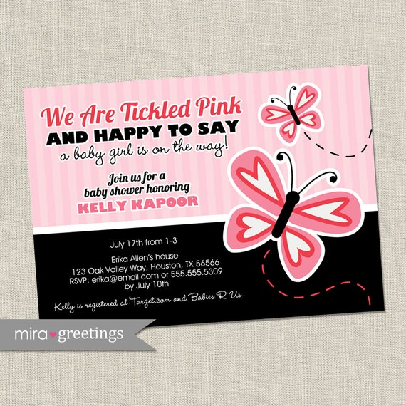 Pink Butterfly Baby Shower Invitation - butterflies baby shower invite (Printable Digital File)