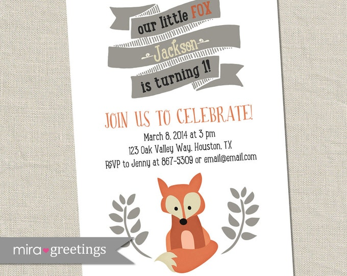 Fox Birthday Party Invitations - Printable Digital File
