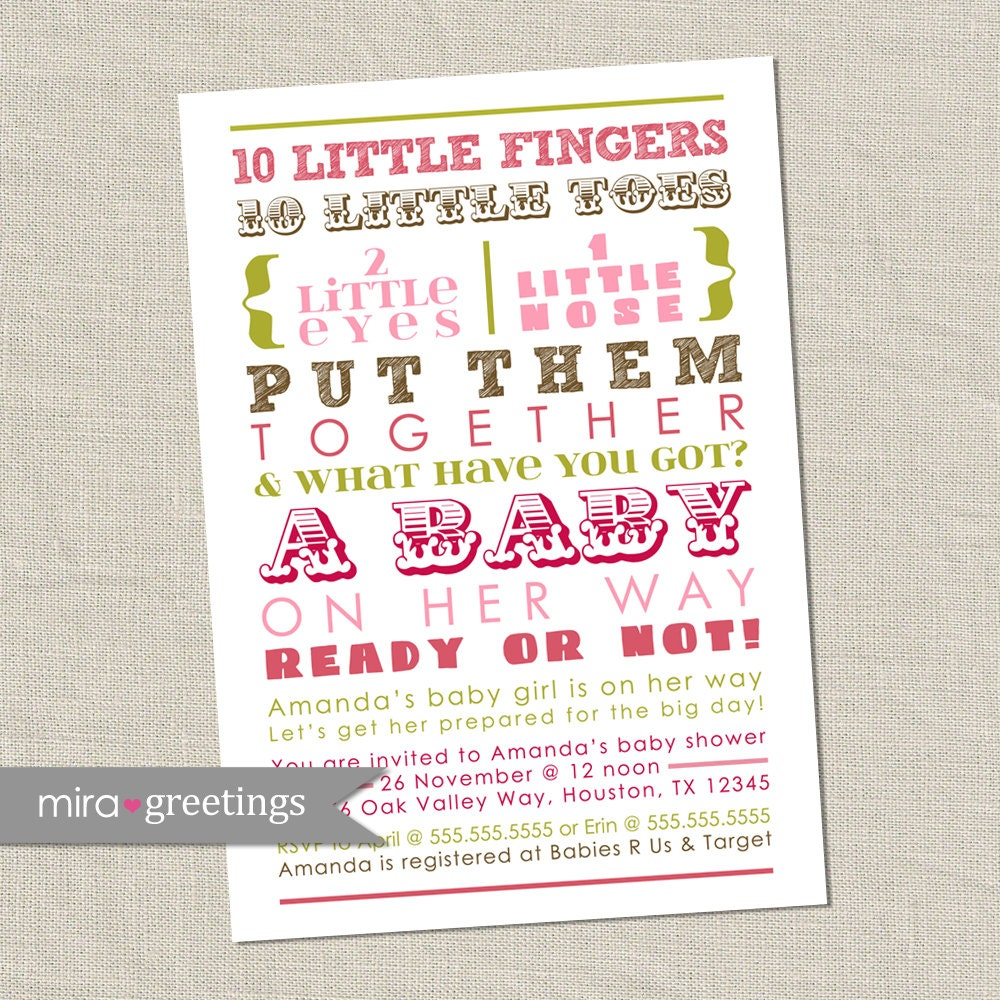 10 Little Fingers Pink and Brown Baby Shower Invitation - Printable ...