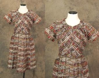 vintage 50s Dress - 1950s Paisley Plaid Day Dress Sz L