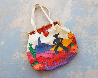 vintage 70s Tote Bag Purse - 1970s Boho Painted Desert Western Cowboy Feedsack Bag