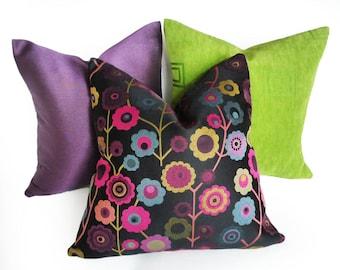 Bohemian Pillows, Boho Chic Pillow Covers,  Mod Floral Pillow, Black Fuchsia Blue Gold, Funky Flowers, Girls Dorm Decor 18, 20, 22, 26