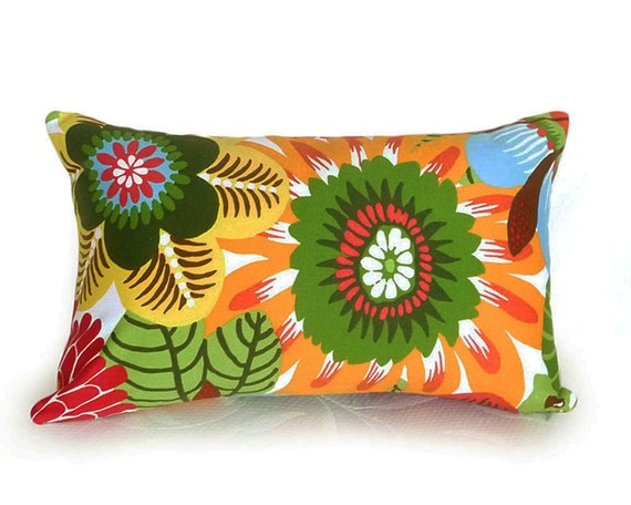 Bright Bold Floral Pillows, Lumbar Accent Pillow,  12x18, Colorful Flowers, Red Orange Green Yellow, SALE