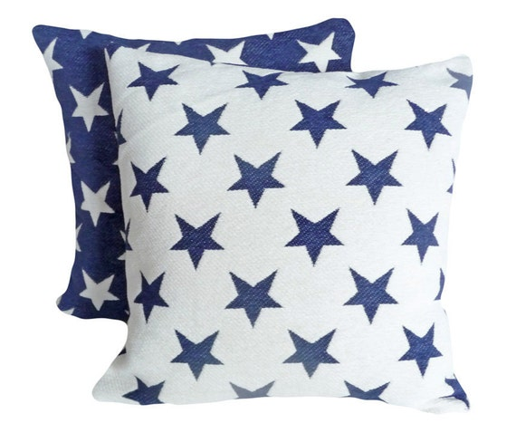 American Star Pillows, 18x18, Decorative Pillows, Navy Blue Cream  Cushion Covers, Old Americana, Country, Holiday Decor, Boys Bedding 18x18
