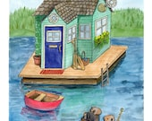 """Wall Art. 5 x 7, Print of a watercolor illustration, """"Seattle Houseboat"""""""