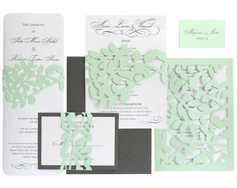 Leaf Lace Wedding Programs - black and white, vine, leaves, wrap, shimmer, whimsical, woodland, vintage, antique, simple, nature, mint, gray