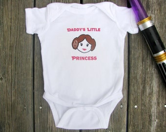 Star Wars Princess Leia baby bodysuit - Daddy's Little Princess.  White Long Sleeve available