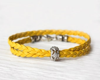 Yellow Leather & Sterling CZ Bangle Bracelet / Eco Friendly Golden Lemon Sunshine Yellow Sun Braided Boho Stacking Bracelet, Colorful Bright