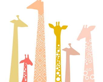 "8X10"" modern giraffe silhouettes giclee print on fine art paper. pink, coral, mauve, gold, champagne"