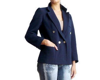 MARIE ANTOINETTE VASSEROT French Vintage Haute Couture Navy With Gold Buttons Wool Double BrestedJacket