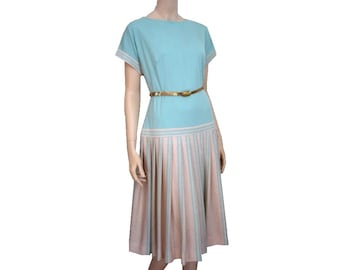 JANGARO Frech Vintage 70s Peppermint Jersey Dress