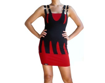 SOLENE french Vintage Red and Black Bodycon Mini Dress