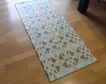 Canvas Floorcloth Rug Filigree Pattern Hand Painted Brown Blue Tan Floor Cloth Custom Color and Sizes Available