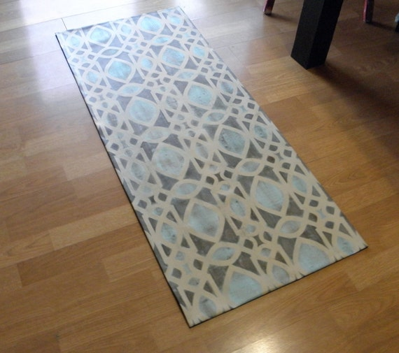 Canvas Floorcloth Rug Filigree Pattern Hand Painted Brown Blue