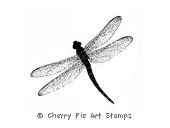 DRAGONFLY - CLiNG Rubber STAMP for acrylic block by Cherry Pie Art Stamps