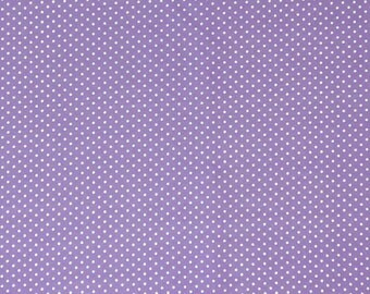White Polka Dot Fabric, Lilac and White Small Polka Dot Cotton Fabric, Lilac Microdot Fabric