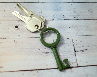 Vintage Skeleton Key Key Chain or Pendant Green or Black